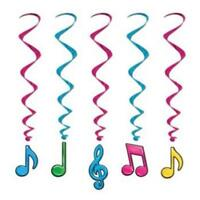 Neon Musical Notes Hanging Whirls (5 pack)