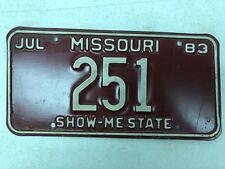 1983 MISSOURI Show-Me State License Plate 251