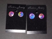 NEW Lot of 2 PAIR of Performance Faceted Earrings 12mmposts Aurora Borealis