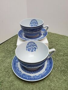 2 Small Heritage Blue By Spode Copeland Tea Cups & Saucers