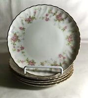 "5 Syracuse Silhouette Shape Pink Floral Spray 6 1/2"" Coupe Bread Plates"