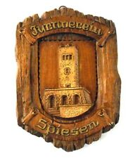 Wooden Plaque from GALGENBERG TOWER IN SPIESEN-ELVERSBERG Vintage