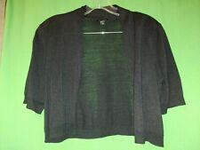 1038) TALBOTS small black thin 100% silk sweater knit shrug crop cardigan S