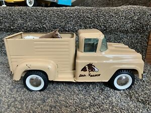 "1960 Original 13"" Buddy L Toy Ranch Truck Pressed Steel High Grade German Horses"