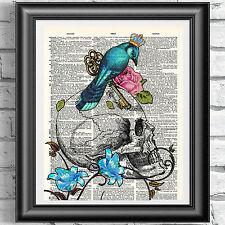 Skull Blue Bird CROWN tatuaggio Stampa su Antico dizionario libro pagina PICTURE
