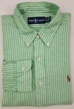 Ralph Lauren Shirt Striped 16 40-41 Green White Mens Size Oxford Multicolor Pony