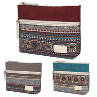 AU_ KF_ Canvas Coin Purse Zipper Clutch Bag Women Cosmetic Phone Holder Wallet S