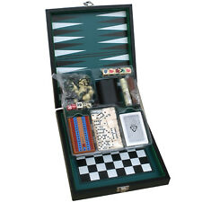 Game 7 in 1 Travel Backgamon Cards Checkers Chess Cribbage Dice-Poker 6-Dominoes