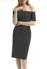 Belle Poque Vintage 1950's Style Pencil Dress Polka Dot Bnwt Large