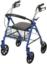 4-Wheel Walker Rollator Fold Up Removable Back Support Walking Assist Blue