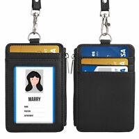 Leather ID Badge Card Holder Lanyard Zipper Card Case Business Organizer Bag