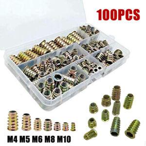 100PCS THREADED WOOD INSERT NUTS M4 M5 M6 M8 M10 HEX DRIVE SCREW FIXINGS TYPE BU