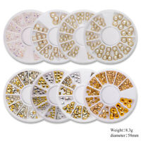 3D Nail Decoration in Wheel Rhinestones Studs Acrylic Tips Nail Art Designs Tips