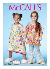 McCall's Sewing Pattern M7496 SZ 2-5 Childrens Girls Easy Banded Top Dress Pants