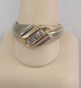 14K DIAMOND .50 1/2 CWT TWO TONE GOLD MEN'S WEDDING BAND BAGUETTES RING GENTS