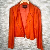 Karen Kane orange linen moto jacket M Retail $188