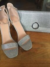 New Look Silver Glitter Stilettos & Matching Bag Size 8