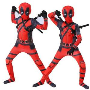 Children Kid Superhero Costume Deadpool Full Body Casual Fancy Cosplay Outfit