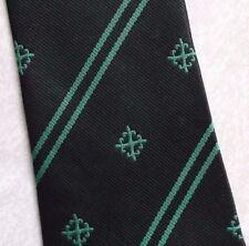 BLACK GREEN CLUB ASSOCIATION TIE VINTAGE RETRO MENS NECKTIE 1980s 1990s CREST