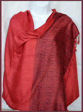Paisley border Pashmina Silk blend Shawl, Stole, Wrap in red from India