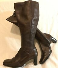 Tamaris Dark Brown Knee High Leather Lovely Boots Size 38 (615QQ)