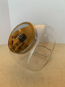 LARGE Glass General Store Angled Candy/Cookie Jar Chrome Lid/Chrome Knob