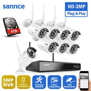 SANNCE Wireless CCTV 3MP 2K System 8CH 5MP NVR IP Audio Camera Security Kit IP66