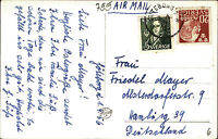 1956 Mischfrankatur Briefmarken Sverige Schweden auf AK Göteborg Poseidon Denkm.