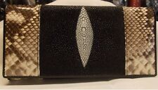 GENUINE  STING RAY PYTHON SNAKE SKIN LEATHER UNIQUE LONG  MENS/ LADIES WALLET
