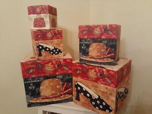 "NESTING BOXES SET OF 5 BOB'S BOXES ""PRIMITIVES"" CALLING ALL GIRLS GIRLS GIRLS!"