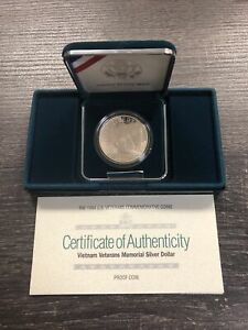 1994 US Veterans Proof Silver Dollar Commemorative With Box & COA