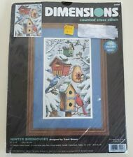 Dimensions Winter Birdhouses Travis Brown Counted Cross Stitch Kit New 35004