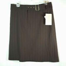Apostrophe Womens Pin Striped Skirt Brown Stretch Lined Belted 12 P Petite