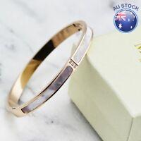 NEW Elegant 18K Rose Gold Filled Solid Women's Mother of Pearl Bangle Bracelet