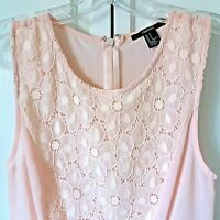 Forever 21 Sleeveless High-Low Top Womens Small Peach Lace Semi-Sheer