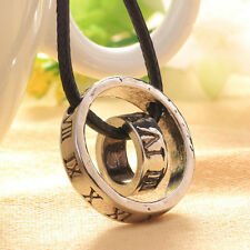 Fashion Men's Roman Numerals Ring Buckle Leather Rope Circle Pendant Necklace