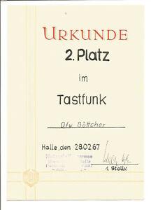 DDR NVA Urkunde 2. Platz Tastfunk Halle 1967
