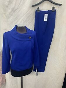 TAHARI BY ARTHUR LEVINE PANT SUIT/SIZE 2/RETAIL$280/BLUE /Inseam 32/NEW WITH TAG