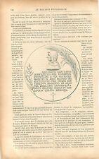 Médaille Médaillon de Jérôme Savonarole/Benvenuto Cellini GRAVURE OLD PRINT 1901