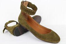 New Frye Women's Carson Ankle Ballet Flats Size 9m Khaki # 3472131-KHI