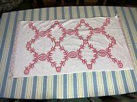 Vintage Sears Pink White Bath Towel Fringe Mod Sculpted