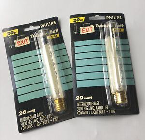2 Philips 20W Tubular Exit Sign Clear Light Bulbs Intermediate Base New 120V