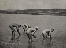 1915/72 Vintage 11x14 NUDE MEN Bathing Male Butt Body Hungary Art ANDRE KERTESZ