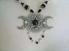 Obsidian Triple Moon Pentacle Necklace wiccan wicca pagan pentagram witchcraft