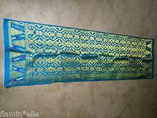 Balinese Songket Ikat Wall hanging table runner gold metal thread turquoise Bali