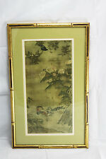 Oriental Asian Art  Floral Birds Print Chinese or Japanese Gold Framed Matted