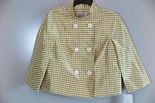 NWT Emanuel Ungaro Green Yellow Check 100% Silk Lined Jacket Size 10 MSRP $219