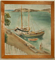 Two fishing boats at dock oil on canvas Painting