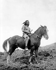 NEZ PERCE WARRIOR ON HORSE 8X10 PHOTO EDWARD S. CURTIS
