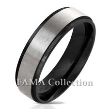 FAMA Stainless Steel Black IP Stepped Edge & Brushed Centre Wedding Band Ring